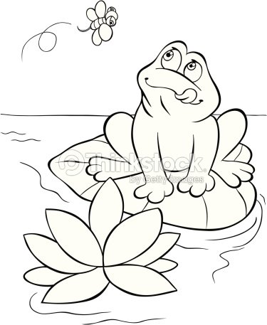 Hungry Frog Coloring Book Vector Art | Thinkstock