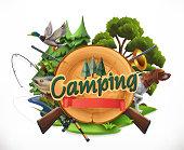 Hunting and fishing. 3d vector emblem