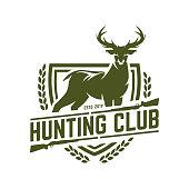 Hunting badge, hunt emblem for hunting club or sport, deer hunting stamp