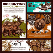 Hunting banner template with wild animal and bird sketch. Forest deer, duck and bear, wolf, reindeer and elk, boar and hare for duck hunting open season poster or hunter sport club promo flyer design