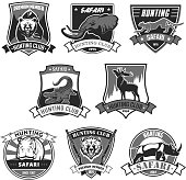 Hunting club icons for hunter african safari or open season. Vector isolated badges set wild animals grizzly bear, elephant and cheetah panther or leopard, alligator crocodile, deer elk and rhinoceros