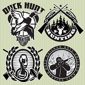 vector set of hunting labels with wild ducks and deer head