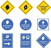 Hurricane road signs, danger alert vector blue and yellow symbols