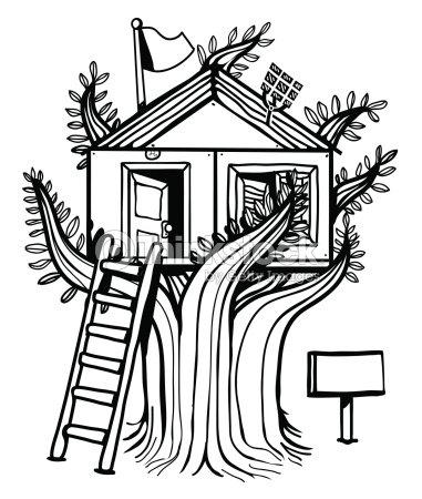 Cabane dans les arbres clipart vectoriel thinkstock - Dessin cabane ...