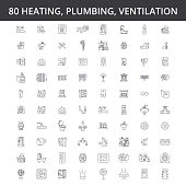 Hvac, heating, air conditioning, ventilation, plumbing service, boiler, home conditioner, engineering radiator line icons signs Illustration vector concept Editable strokes