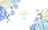 Vector corner banner with blue and white hydrangea flowers on white background. Floral design for cosmetics, perfume, beauty care products. Can be used as greeting card, wedding invitation