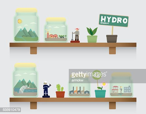 hydro energy in jar : Vector Art