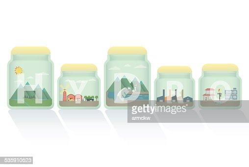 hydro energía en el recipiente : Arte vectorial