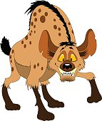 young funny hyena with huge teeth, vector