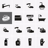 Hygiene and Sanitation Icons. Vector set