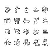 Hygiene Signs Black Thin Line Icon Set Include of Toilet Equipment, Gasket, Paper, Hand and Faucet. Vector illustration