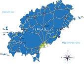 Detailed map of Ibiza.