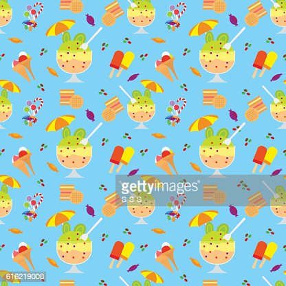 Ice cream and candies seamless pattern : Vektorgrafik