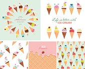 Ice cream big set. Seamless patterns, templates, stickers. Hello summer design. Vector EPS10