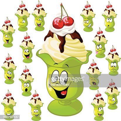 ice cream cup with many facial expressions : Vector Art