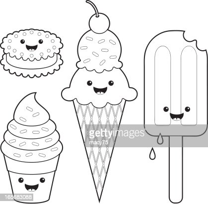 Ice Cream Fun Kawaii Coloring Set Vector Art