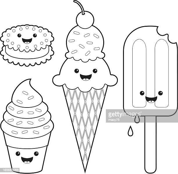 Ice cream fun kawaii coloring set