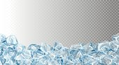 Ice cubes, realistic set, , vector illustration. Blue Ice collection, isolated, refresh, white, seamless horizontal background.