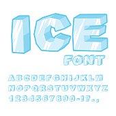 Ice font. Cold letters. Transparent blue alphabet. Frosty alphabet. frozen lettering