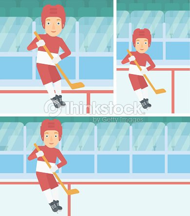 Ice hockey player with stick vector illustration