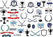Ice hockey sport game icons, design elements and items with crossed sticks, pucks, gates, goalie masks and protective helmets, sport trophy, ribbon banners, stars and laurel wreaths