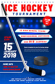 Ice hockey tournament poster template with stick and puck and sample text in separate layer- vector illustration