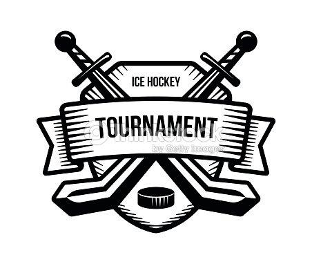Ice hockey vector . Winter team sport tournament. Knight, pirate, buccaneer, warrior sword mascot.
