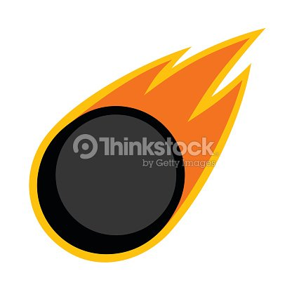 Ice hockey winter sport comet fire tail flying puck icon