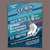 Ice rink advertising poster on scratched ice winter vector background. The scratches on separate layer