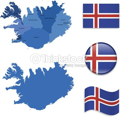 Iceland Map And Flags Collection Vector Art | Thinkstock
