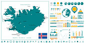 Iceland Map and Infographics design elements. On white. Business template in flat style for presentation, booklet, website and other creative projects.