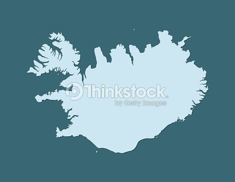 Iceland Map Vector Using Blue Border Lines On Dark Background ...