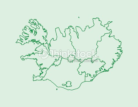 Iceland Map Vector With Counties Using Green Border Lines On Light ...