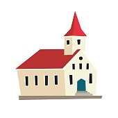 Icelandic temple icon. Nordic schematic cartoon capital. Vector illustration, isolated on white background