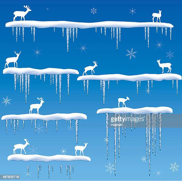 icicles border  with deer