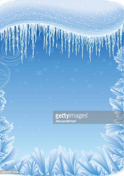 Icicles, Snow and Iceflowers Background