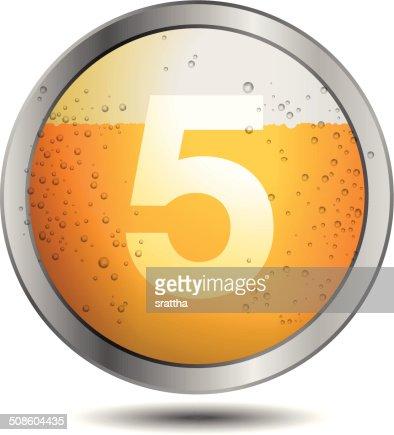 Ícone da cerveja Alfabeto letra 5 : Arte vetorial