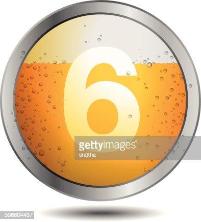 Icono de cerveza alfabeto letras 6 : Arte vectorial