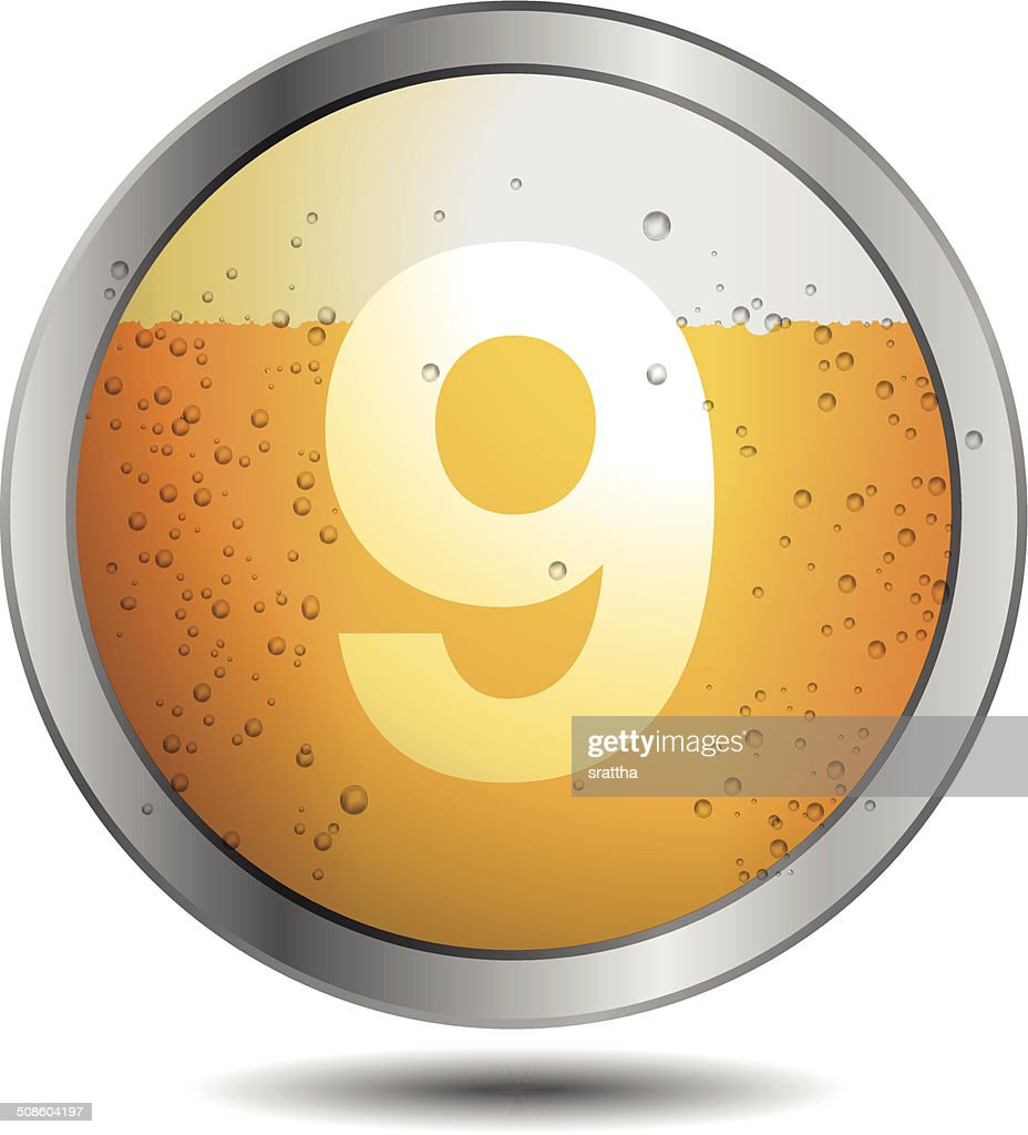 Ícone da cerveja Alfabeto tipo de letra 9 : Arte vetorial
