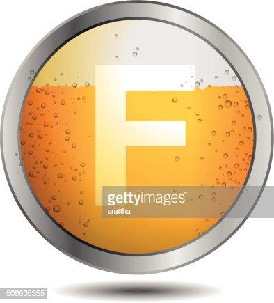 Icono de cerveza alfabeto letra F : Arte vectorial