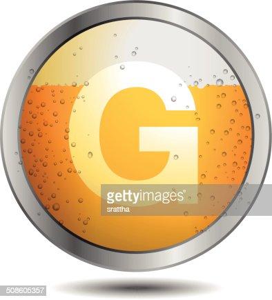 Icono de cerveza alfabeto letras G : Arte vectorial