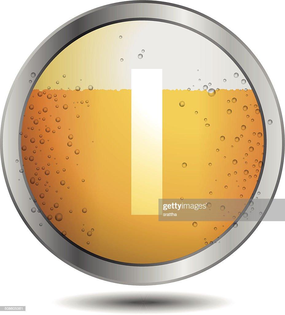 Icono de cerveza alfabeto letras e : Arte vectorial