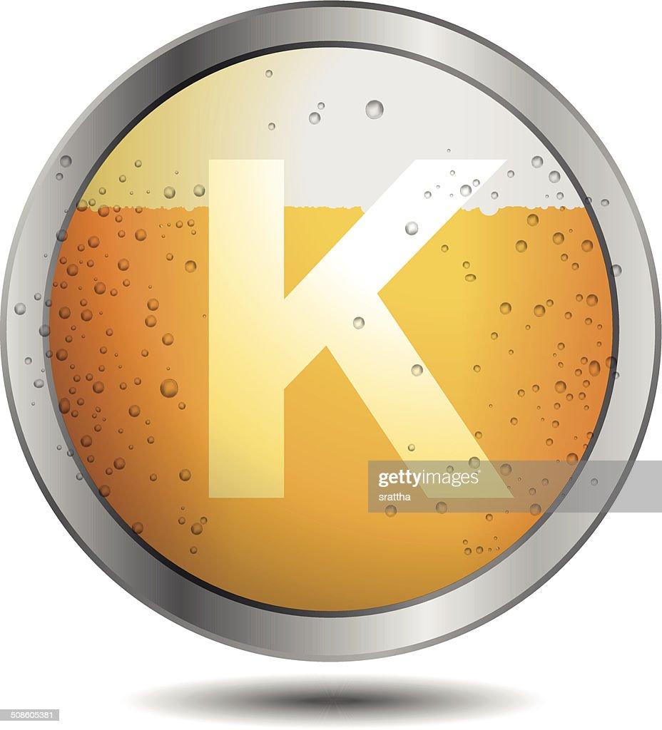 Icon Beer Alphabet Font K : Vector Art