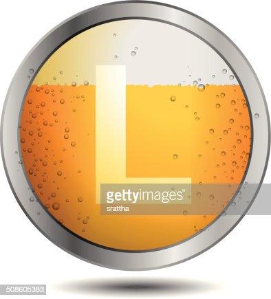 Ícone da cerveja Alfabeto Letra L : Arte vetorial
