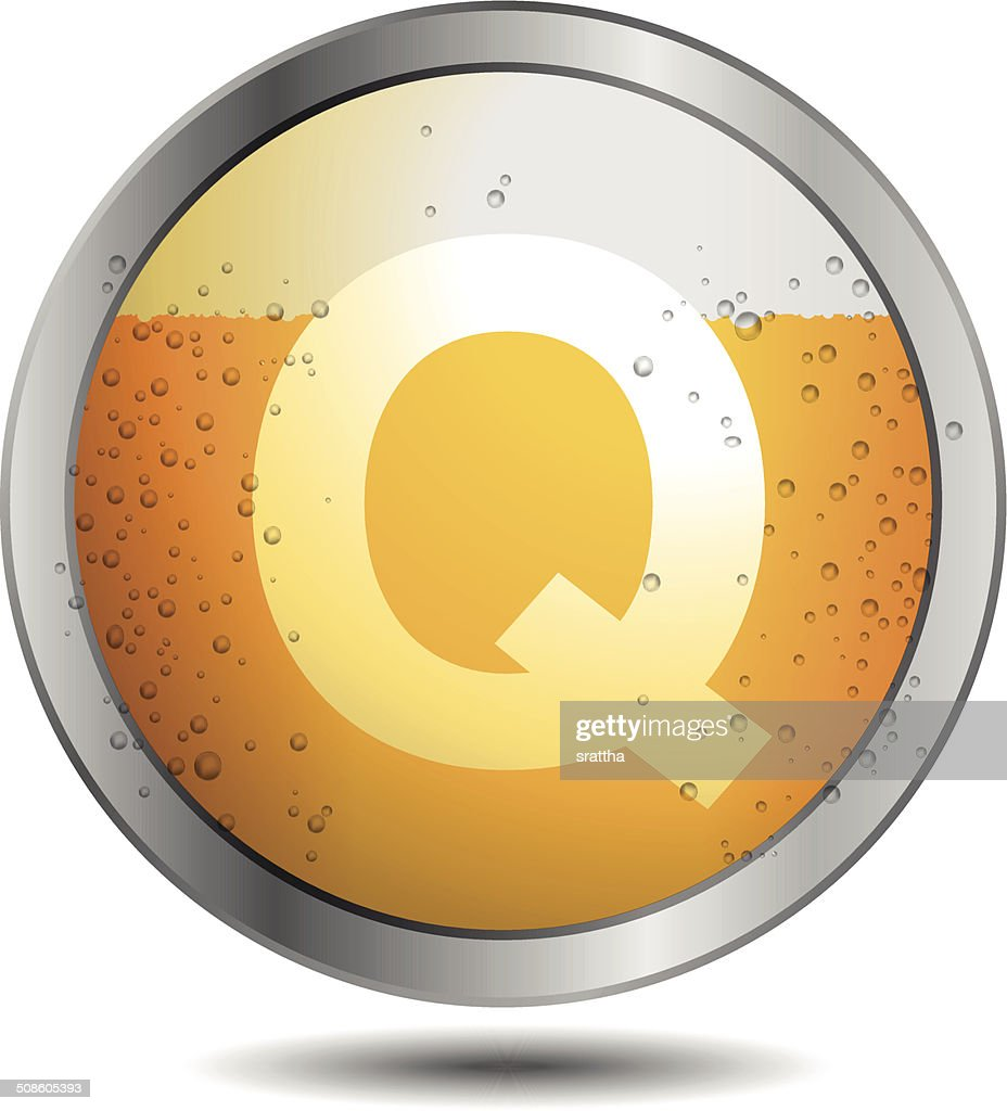 Icon Beer Alphabet Font Q : Vector Art