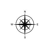 icon compass, navigation, direction, road landmark fully editable vector image