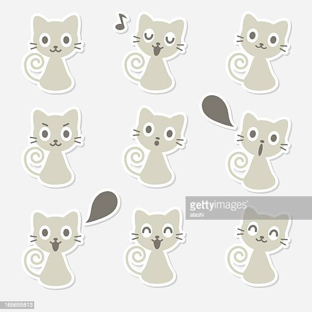 Icon ( Emoticons ) - Cute Cat(smiling, singing,talking,looking )