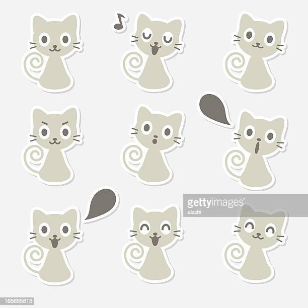 Icona (emoticon)-Gatto carino, sorridente, cantando, parlare, guardare