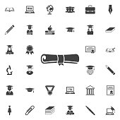 icon diploma. Education set of icons