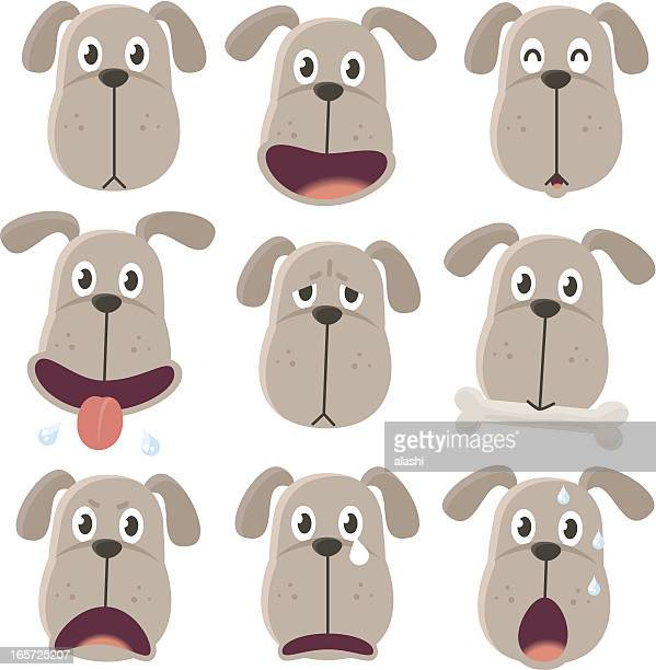 Icon ( Emoticons ) - Dog in various moods